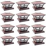 iGlow 12 Pack Brown Outdoor Garden 6 x 6 Solar SMD LED Post Deck Cap Square Fence Light Landscape Lamp PVC Vinyl Wood
