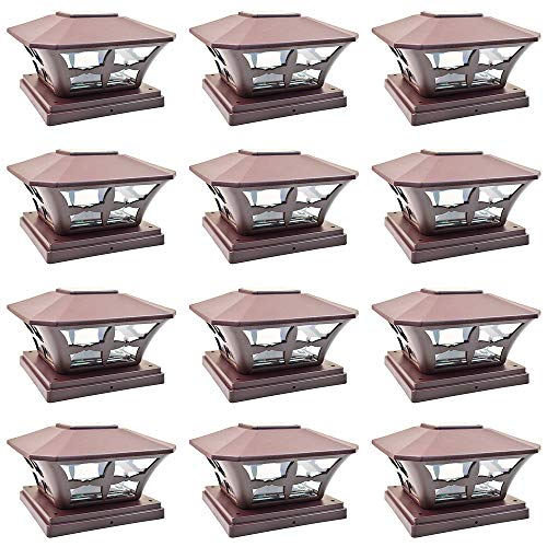 iGlow 12 Pack Brown Outdoor Garden 6 x 6 Solar SMD LED Post Deck Cap Square Fence Light Landscape Lamp PVC Vinyl Wood ()