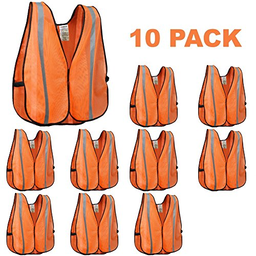XSHIELD XS0008-10,High Visibility Safety Vest with Silver Stripe,ANSI Class Unrated,Universal Size,Pack of 10 -