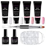 ECBASKET Poly Nail Gel Kit Gel Nail Extension Professional Poly Gel Kit Gel Nail Enhancement Builder System All-in-One Nail Technician French Kit