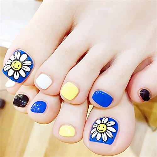 False Toenails for Women Artificial Toe Nails Full Cover Finished Feet Patch 24pcs/set Blue