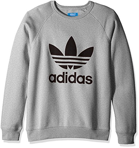(adidas Originals Men's Outerwear Trefoil Crew Sweatshirt, Medium Grey Heather/Black, Small)