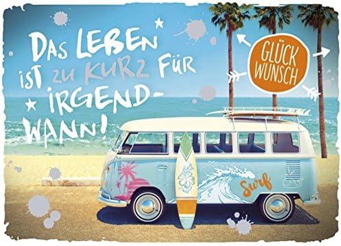50 Geburtstag Karte Grußkarte Abenteuer VW Bus Foliendruck 16x11cm