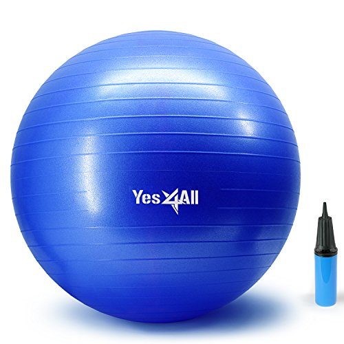 Yes4All Yoga Exercise Ball with Pump (Hand) – Anti Burst & Extra Thick Stability Ball / Balance Ball / Fitness Ball – Large Yoga Ball (65 cm, Blue) by Yes4All