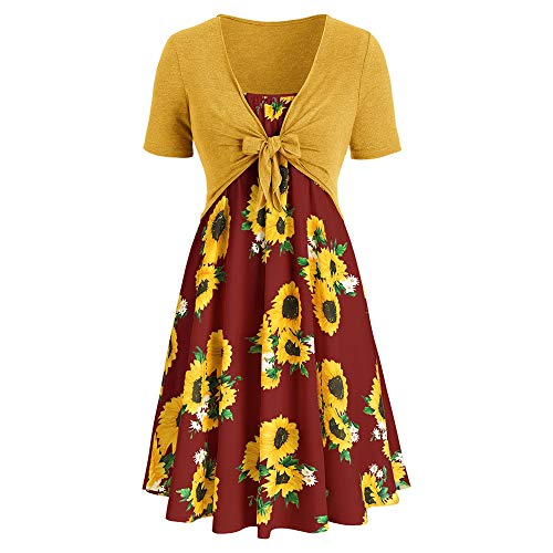 KCatsy Plus Size Sunflower Print Dress with Front Knot -