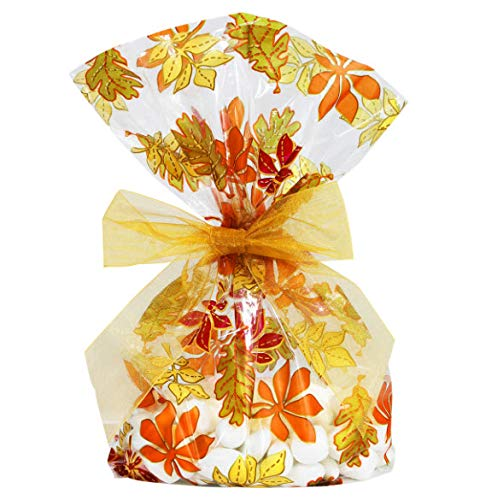 Saybrook Products Fall Autumn Leaves/Thanksgiving Cellophane Treat/Party Favor Bags with Gold Twist-Tie Organza Bow. Set of 10 Ready-to-Use, Gussetted 11x5x3 Goodie Bags with Bows -