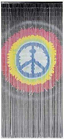 TACHILC Peace Doorway Beads Curtains, Bamboo Beaded Curtains for Doorways, Beaded Curtain 35.5 inches x 78 inches, 90 Strands