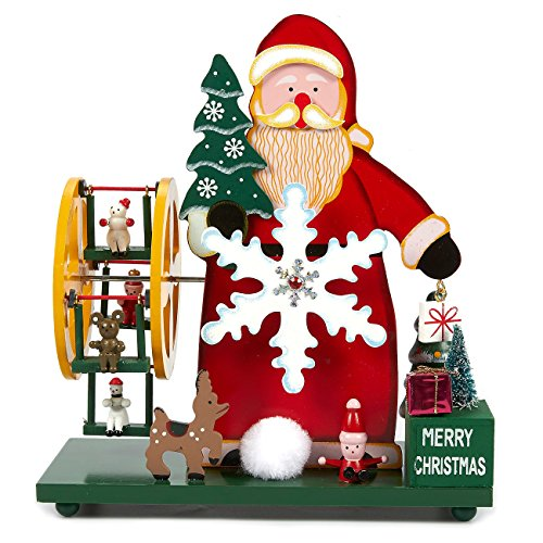 Juvale Christmas Music Box - Santa with Rotating Snowflake and Wheel - Animated Musical Christmas Decoration - No Batteries Required, 9.5 x 8.5 x 4 inches