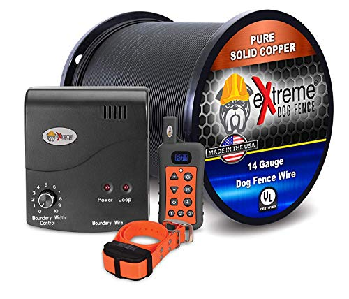 Electric Dog Fence + Remote Trainer - 1 Dog / 1000' of 14 Gauge Underground Dog Fence Wire (Up to 1 Acre) - Dual Solution to Contain and Train Your Dog(s) with a Single Collar