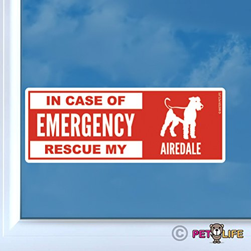 In Case of Emergency Rescue My Airedale Sticker Vinyl Auto Window dog safety terrier