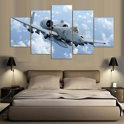 [LARGE] Premium Quality Canvas Printed Wall Art Poster 5 Pieces / 5 Pannel Wall Decor Aircraft-2 Painting, Home Decor Pictures - With Wooden Frame