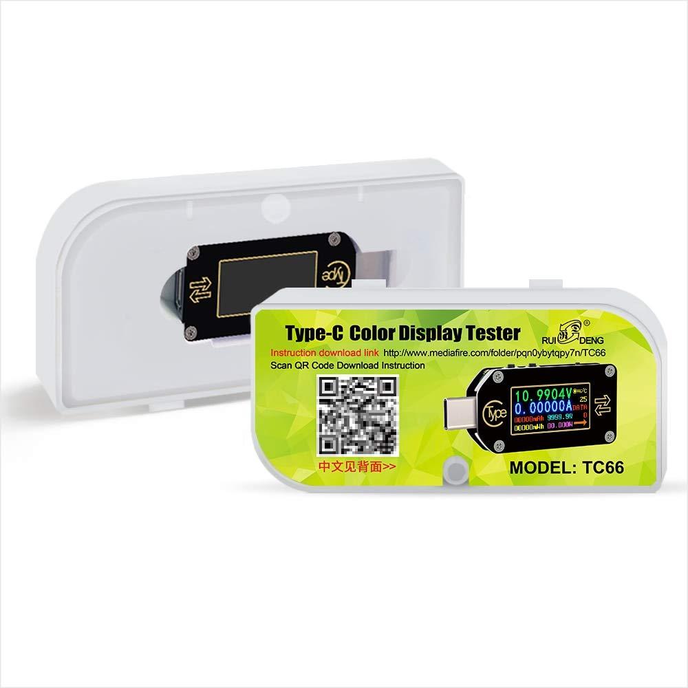 TC66 Tipo-C PD disparador USB-C Volt/ímetro amper/ímetro voltaje 2 v/ías medidor de corriente mult/ímetro PD cargador bater/ía USB Tester
