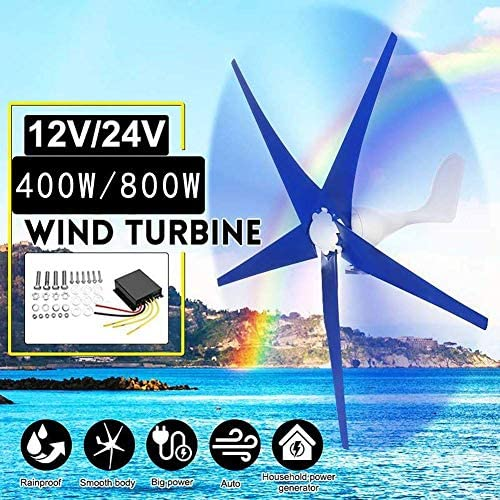 CTO 400W / 800W Horizontal Windgenerator 12V / 24V 5 Blades Wind Turbines Generator mit Controller-Windmühle Energieturbinen Charge (Spezifikation: 400W 12V),400W 24V