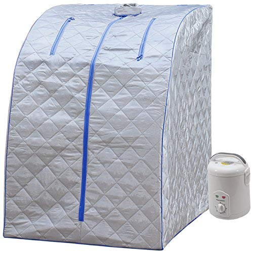 Durherm Portable Personal Therapeutic Spa Home Steam Sauna Weight Loss Slimming Detox (Blue Outline) (Jnh Lifestyles 2 Person Far Infrared Sauna)