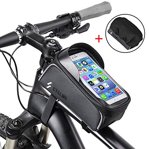 Fantastic Deal! iBesi Bike Phone Case Bag, Waterproof Front Frame Bike Bag Top Tube Mount Bicycle Handlebar Cell Phone Touch Screen Large Capacity Cycling Pack Compatible with iPhone Xs Max X 8 Plus 7 6S Samsung S9