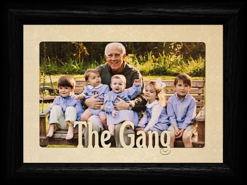 5x7 THE GANG Landscape Picture Frame ~ Laser Cut Cream Marble Mat with BLACK Frame ~ Holds a 4x6 or cropped 5x7 Photo!