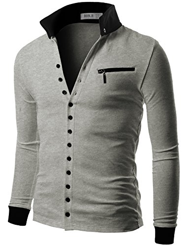 Doublju Mens Jersey Cardigan with Contrast Detail