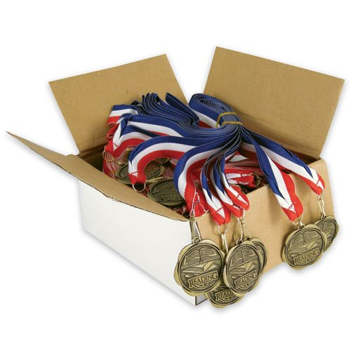 Set of 100 Award Medals with Neck Ribbons - Reading