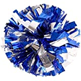 "PUZINE 13"" Cheerleading Metallic Foil & Plastic Ring Pom Poms Pack of 2 (100g) (Blue with Silver)"