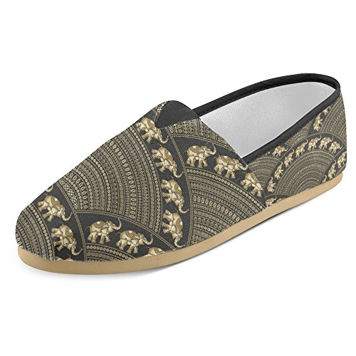 InterestPrint Women's Loafers Classic Casual Canvas Slip On Fashion Shoes Sneakers Flats Size 4.5 Indian Elephant Silhouette and Golden Fan Shaped Ornate (Golden Ladies Shoes)