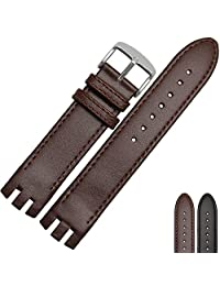 NESUN Calfskin Leather Watch Band With Silver Stainless Steel buckle For Men's SWatch Metal Series Watches 20mm