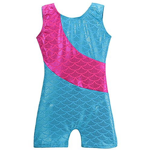 Mermaid Leotards for Girls Gymnastics Biketard Shiny Sparkles Stripe ,Shiny Mermaid,120(5-6Y) ()