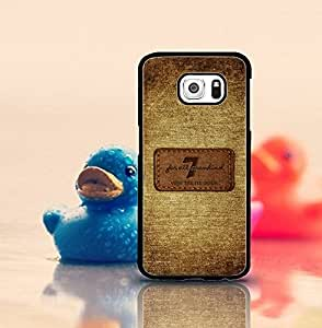 7 For All Mankind Galaxy S6 Funda Case, Brand Logo Protection [Unique Pattern] Design Drop-Resistant Hard Plastic Vintage Fit for Samsung Galaxy S6