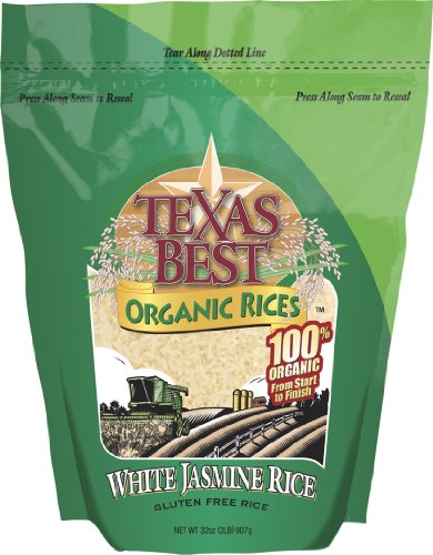 Texas Best Organics Rice, Og, Jasmine White, 32-Ounce (Pack of 3) by Texas Best Organics