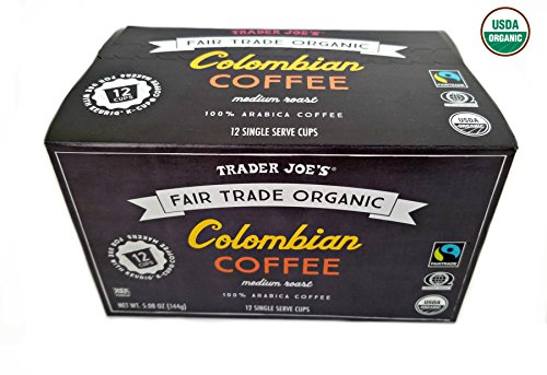 Trader Joe's Fair Trade Organic Colombian Coffee - Medium Roast 100% Arabica - 12 K- Cups