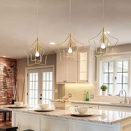 (L.HPT Modern Pendant Lights, Wrought Iron Chandelier Adjustable Ceiling Lamp Five-Pointed Star Bedroom Living Room Loft Cafe Lighting, Gold, 1 Head)
