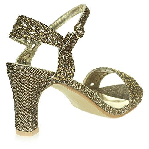 Sangles de Marron De Dames de mariée Mariage Femmes Open des Soir Taille Toe Cheville Bal Chaussures Fête Diamante Sandales pPqpwCYU