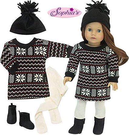"Doll Clothes 18/"" Dress Gray Fair Isle by Sophia/'s Fits American Girl Dolls"