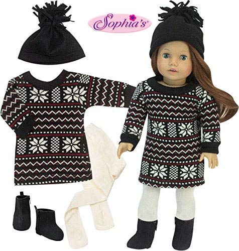 Sophia's Sweater Dress Set for 18 in Dolls, Stylish Black Fair Isle Doll Sweater Dress with Black Hat, Black Boots & Ivory Tights | 4 Piece Winter Doll Outfit