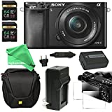 Sony Alpha a6000 ULTIMATE PRO Bundle Mirrorless Digital Camera 24.3 MP SLR Camera with 3.0-Inch LCD - Sony 16-50mm Power Zoom Lens + Power Battery + Charger + Case + 128GB SD DigitalAndMore Bundle