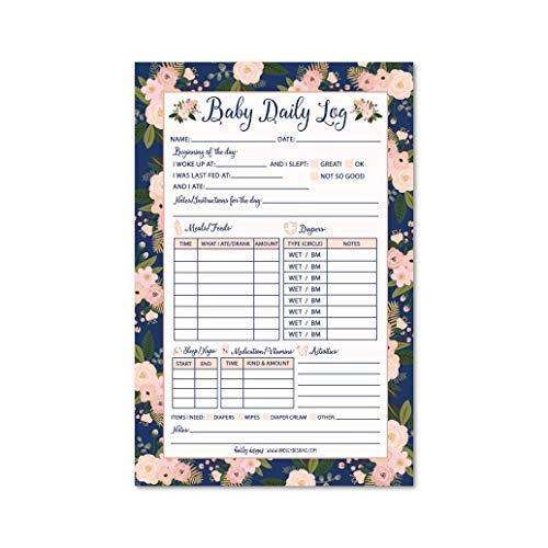 Nanny Newborn Baby or Toddler Log Tracker Journal Book, Daily Schedule Feeding Food Sleep Naps Activity Diaper Change Monitor Notes For Daycare, Babysitter, Caregiver, Infants and Babies, 50 Sheet Pad ()