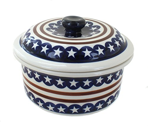Polish Pottery Stars & Stripes Round Baker with Lid (Round Pottery)