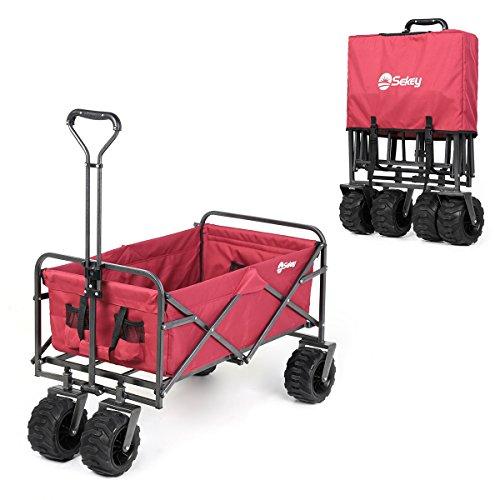 Sekey Folding Wagon Cart Collapsible Outdoor Utility Wagon Garden Shopping Cart Beach Wagon with All-Terrain Wheels, 265 Pound Capacity, Red
