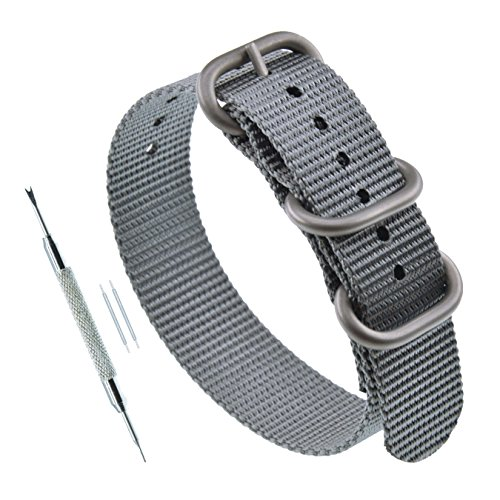 22mm Grey G10 Woven ZULU Band 3-ring Nylon Watch Band Replacement Thick for - 22 Deluxe Rings