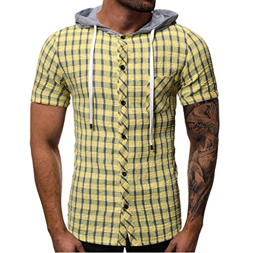 Men's Poplin Short Sleeve Button Down Shirt Summer Hooded Pocket Short Sleeve Plaid T-Shirt Top Vest Yellow