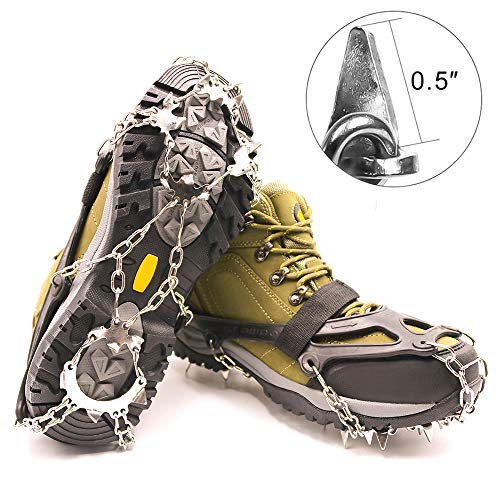 SHANLU Snow Grips, Traction Cleats/Ice Grips for Shoes with 18