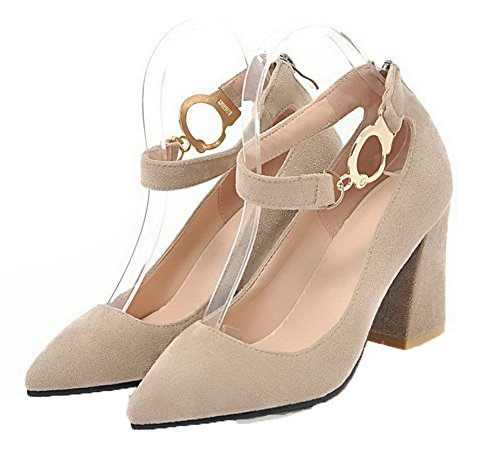 Delle Pompe Pu punta shoes Donne Weipoot Dell'inarcamento Punta Solidi Tacchi Beige xTqt76