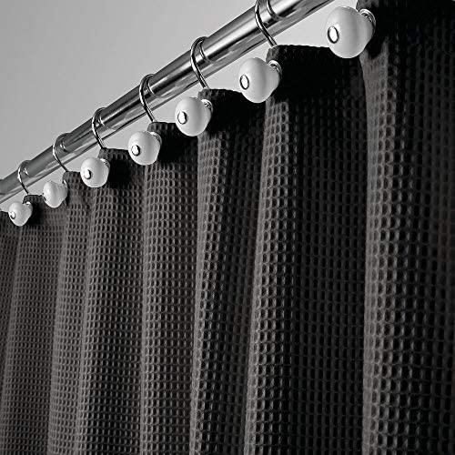"mDesign Hotel Quality Polyester/Cotton Blend Machine Washable Fabric Shower Curtain with Waffle Weave and Rust-Resistant Metal Grommets for Bathroom Showers and Bathtubs - 72"" x 72"" - Black"