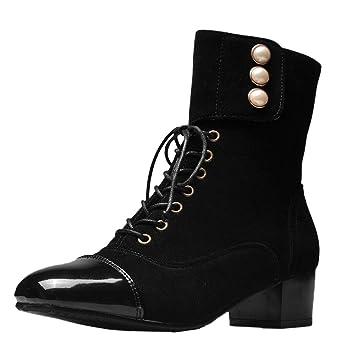 ZARLLE Zapatillas Moda Botines Botas Militares Altas Mujer Botas Ocio Zapatos de Cabeza Cuadrada Plana para