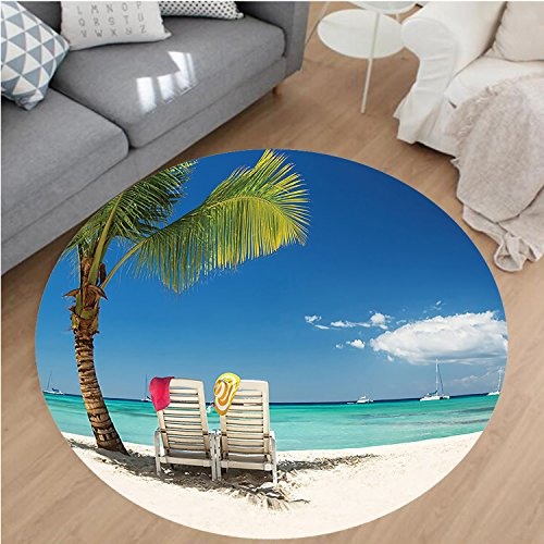 Nalahome Modern Flannel Microfiber Non-Slip Machine Washable Round Area Rug-laxing Scene On Remote Beach With Palm Tree Chairs And Boats Panoramic Picture Blue Green area rugs Home Decor-Round 32