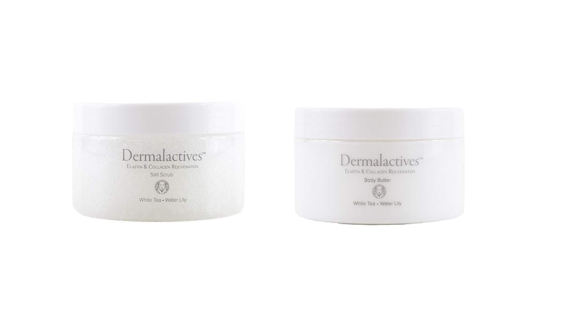 Dermalactives Replenishing, Nourishing & Exfoliating Body Scrub and Body Butter Set For a Smooth, Soft and Healthy Body Care Experience (White Tea – Water Lily BOTH)