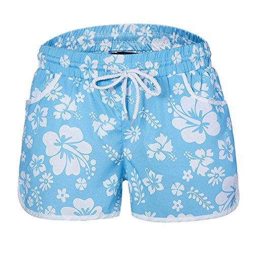 Yying Mujer Cintura Baja Shorts Cómodo Cintura Elástica Pantalón con Bolsillos Moda Estampado de Flores Casual Verano Pantalones Cortos Sueltos Shorts Cielo Azul