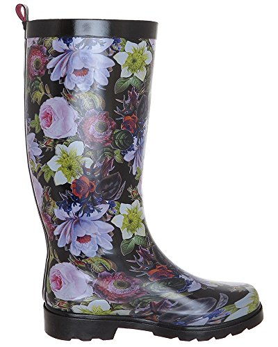 New York Drop Printed Capelli Shiny Combo Black Boot Floral Ladies Rain 5dqwqXT