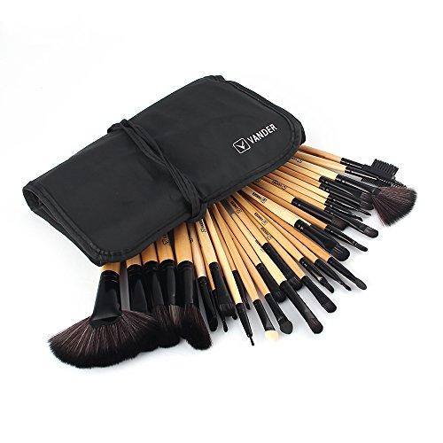 Makeup Brushes Vander 32 Pieces Professional Synthetic Kabuki Foundation Blending Blush Eye Face Lip Concealer Liquid Powder Cream Contour Cosmetics Makeup Brush Set (Wood) (32 Piece Set Beauty Makeup)