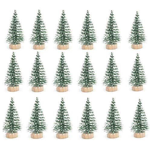 (STUDYY 24pcs Mini Pine Sisal Snow Frost Trees with Wood Base Bottle Brush Trees Plastic Winter Snow Ornaments Tabletop Trees for DIY Room Decor Home Table Top Decoration)