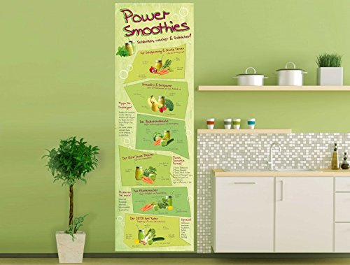 Cuisine Poster Photo Wallpaper - Power Smoothies, Schlanker, Wacher, Fröhlicher, 1 Part (98 x 31 inches)